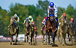 SARATOGA SPRINGS, NY - AUGUST 26: Drefong #10, ridden by Mike Smith, easily wins the Forego Handicap on Travers Stakes Day at Saratoga Race Course on August 26, 2017 in Saratoga Springs, New York. (Photo by Alex Evers/Eclipse Sportswire/Getty Images)