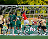 The ball goes over the hand of FC Gold Pride goalkeeper Nicole Barnhart (1) on a corner kick by St Louis Athletica midfielder Lori Chalupny (17) during a WPS match at Korte Stadium, in st. Louis, MO, May 9 2009.