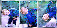 Blond hair and blue eyed child playing with motion and  photographer.