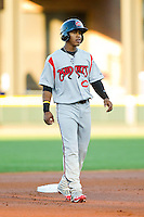 Francisco Lindor (12) of the Carolina Mudcats takes his lead off of second base against the Winston-Salem Dash at BB&T Ballpark on April 13, 2013 in Winston-Salem, North Carolina.  The Dash defeated the Mudcats 4-1.  (Brian Westerholt/Four Seam Images)