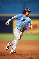 Roberto Alvarez (17) runs the bases during the Tampa Bay Rays Instructional League Intrasquad World Series game on October 3, 2018 at the Tropicana Field in St. Petersburg, Florida.  (Mike Janes/Four Seam Images)