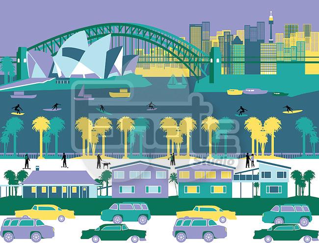 Opera house and a bridge in a city, Sydney Opera House, Sydney Harbor Bridge, Sydney, New South Wales, Australia