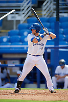 Dunedin Blue Jays catcher Alberto Mineo (44) at bat during a game against the Lakeland Flying Tigers on May 27, 2018 at Dunedin Stadium in Dunedin, Florida.  Lakeland defeated Dunedin 2-1.  (Mike Janes/Four Seam Images)