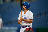 Dunedin Blue Jays first baseman Ryan Noda (19) at bat during a Florida State League game against the Clearwater Threshers on April 4, 2019 at Spectrum Field in Clearwater, Florida.  Dunedin defeated Clearwater 11-1.  (Mike Janes/Four Seam Images)