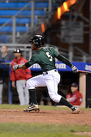 Jamestown Jammers outfielder Elvis Escobar (5) at bat during a game against the State College Spikes on September 3, 2013 at Russell Diethrick Park in Jamestown, New York.  State College defeated Jamestown 3-1.  (Mike Janes/Four Seam Images)