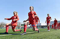 players of Zulte Waregem  pictured during the warming up of a female soccer game between SV Zulte - Waregem and KRC Genk Ladies on the 2nd matchday in play off 2 of the 2020 - 2021 season of Belgian Scooore Womens Super League , saturday 17 th of April 2021  in Zulte , Belgium . PHOTO SPORTPIX.BE | SPP | DIRK VUYLSTEKE