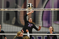Southside Aleigha Johnson (21) spikes the ball, Thursday, September 10, 2020 during a volleyball game at Fayetteville High School in Fayetteville. Check out nwaonline.com/200911Daily/ for today's photo gallery. <br /> (NWA Democrat-Gazette/Charlie Kaijo)