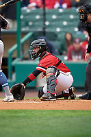Rochester Red Wings catcher Tomas Telis (18) during an International League game against the Charlotte Knights on June 16, 2019 at Frontier Field in Rochester, New York.  Rochester defeated Charlotte 11-5 in the first game of a doubleheader that was a continuation of a game postponed the day prior due to inclement weather.  (Mike Janes/Four Seam Images)