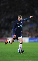 Finn Russell of Scotland kicks a conversion during the Guinness Six Nations Calcutta Cup match between England and Scotland at Twickenham Stadium on Saturday 16th March 2019 (Photo by Rob Munro/Stewart Communications)
