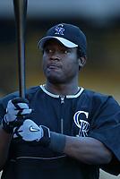 Juan Uribe of the Colorado Rockies during a 2003 season MLB game at Dodger Stadium in Los Angeles, California. (Larry Goren/Four Seam Images)