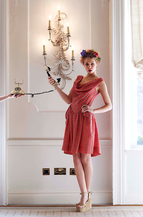 CRY Pure Style Fashion Luncheon in association with Arnotts in the Shelbourne Hotel, is model Thalia Heffernan, wearing Vivienne Westwood check dress, ?335.