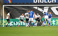 20th March 2021; Liberty Stadium, Swansea, Glamorgan, Wales; English Football League Championship Football, Swansea City versus Cardiff City;  Aden Flint of Cardiff City heads the ball to score Cardiff City first goal to make it 0-1 in the 8th minute