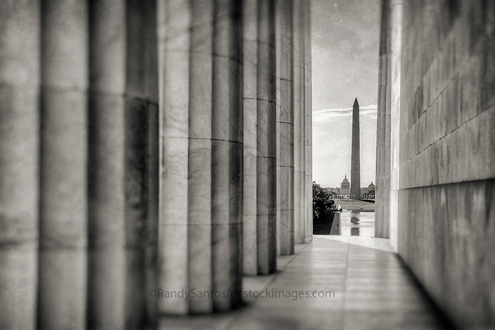 Washington Monument from the Lincoln Memorial at Sunrise Washington DC<br /> Washington DC Photography Black and White Photography Washington DC Art - - Framed Prints - Wall Murals - Metal Prints - Aluminum Prints - Canvas Prints - Fine Art Prints Washington DC Landmarks Monuments Architecture