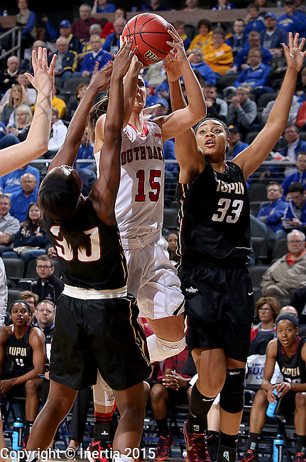SIOUX FALLS, SD - MARCH 9: Kelly Stewart #15 of USD goes up for a shot against defenders Akilah Sims #30 and Mikale Rogers #33 of IUPUI in the first half of their semi-final round Summit League Championship Tournament game Monday afternoon at the Denny Sanford Premier Center in Sioux Falls, SD. (Photo by Dave Eggen/Inertia) (Photo by Dave Eggen/Inertia)