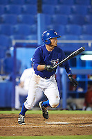 GCL Blue Jays left fielder Norberto Obeso (28) at bat during the second game of a doubleheader against the GCL Phillies on August 15, 2016 at Florida Auto Exchange Stadium in Dunedin, Florida.  GCL Phillies defeated the GCL Blue Jays 4-0.  (Mike Janes/Four Seam Images)