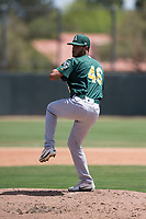 Oakland Athletics starting pitcher Angello Infante (46) delivers a pitch during an Extended Spring Training game against the San Francisco Giants Orange at the Lew Wolff Training Complex on May 29, 2018 in Mesa, Arizona. (Zachary Lucy/Four Seam Images)