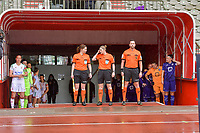 players and referees ( assistant referee Joline Delcroix , referee Viki De Cremer , assistant referee Jean-Christophe Henry ) ready to enter the field before a female soccer game between RSC Anderlecht Dames and Oud Heverlee Leuven on the seventh matchday of play off 1 of the 2020 - 2021 season of Belgian Womens Super League , saturday 15 th of May 2021  in Brussels , Belgium . PHOTO SPORTPIX.BE | SPP | STIJN AUDOOREN