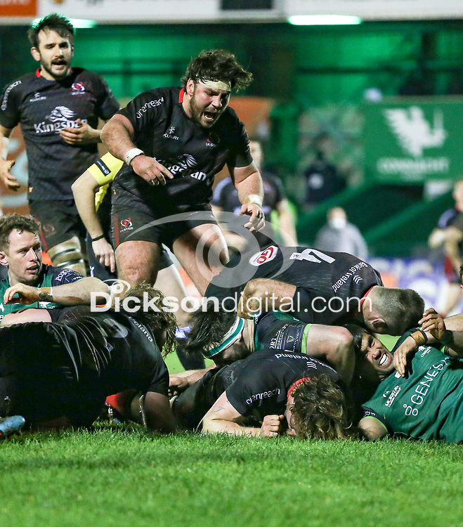 27th December 2020 | Connacht  vs Ulster <br /> <br /> Tom O'Toole celebrates Jordi Murphy's try during the Guinness PRO14 match between Connacht and Ulster at The Sportsground in Galway. Photo by John Dickson/Dicksondigital