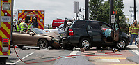 Fire and rescue crews were on the scene of a 4-car accident blocking the southbound lane at Rio Road and U.S. 29 Monday afternoon in Albemarle County, Va. Photo/Andrew Shurtleff/The Daily Progress
