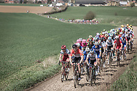Pavé 28: 2nd sector of the day and peloton already in pieces. <br /> <br /> 116th Paris-Roubaix (1.UWT)<br /> 1 Day Race. Compiègne - Roubaix (257km)