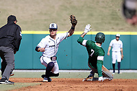 CARY, NC - FEBRUARY 23: Gavin Homer #2 of Penn State University catches Mike Ruggiero #7 of Wagner College trying to steal second base during a game between Wagner and Penn State at Coleman Field at USA Baseball National Training Complex on February 23, 2020 in Cary, North Carolina.