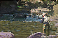 Photoillustration of a man fly fishing along the South Platte River in Eleven Mile Canyon in Colorado