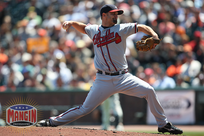 SAN FRANCISCO - AUGUST 6:  Buddy Carlyle of the Atlanta Braves pitches during the game against the San Francisco Giants at AT&T Park in San Francisco, California on August 6, 2008.  The Giants defeated the Braves 3-2.  Photo by Brad Mangin