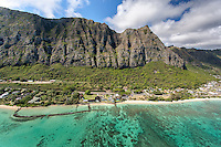 Kaiona Beach Park along Waimanalo Bay features Pahonu Pond, an ancient stone-walled pond, Waimanalo, O'ahu.