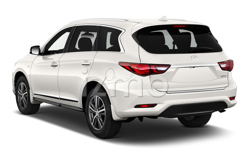 Car pictures of rear three quarter view of 2020 Infiniti QX60 Pure 5 Door SUV Angular Rear