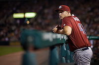 Lehigh Valley IronPigs pitcher Seth Rosin (40) looks to the scoreboard  during a game against the Rochester Red Wings on July 4, 2015 at Frontier Field in Rochester, New York.  Lehigh Valley defeated Rochester 4-3.  (Mike Janes/Four Seam Images)