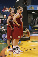 5 April 2008: Stanford Cardinal Jillian Harmon (left) and Ashley Cimino (24) during Stanford's 2008 NCAA Division I Women's Basketball Final Four open practice at the St. Pete Times Forum Arena in Tampa Bay, FL.