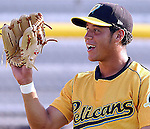 Gregor Blanco of the Myrtle Beach Pelicans, Class A affiliate of the Atlanta Braves, taken at Pfitzner Stadium, Woodbridge, Va., May 14, 2004. Photo by Tom Priddy. All rights reserved. Contact tom@tompriddy.com or http://www.tompriddy.com. (c) Tom Priddy