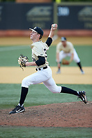 Wake Forest Demon Deacons relief pitcher William Fleming (38) in action against the Virginia Cavaliers at David F. Couch Ballpark on May 19, 2018 in  Winston-Salem, North Carolina. The Demon Deacons defeated the Cavaliers 18-12. (Brian Westerholt/Four Seam Images)