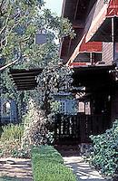 Greene & Greene: Van Rossen House. Projecting eaves.  Photo '84.