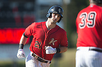 Louie Lechich (21) of the Kannapolis Intimidators rounds third base after hitting a home run against the Asheville Tourists at Intimidators Stadium on June 28, 2015 in Kannapolis, North Carolina.  The Tourists defeated the Intimidators 6-4.  (Brian Westerholt/Four Seam Images)