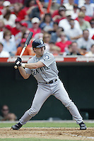 Willie Bloomquist of the Seattle Mariners bats during a 2002 MLB season game against the Los Angeles Angels at Angel Stadium, in Los Angeles, California. (Larry Goren/Four Seam Images)