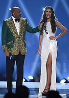 ATLANTA, GA - DECEMBER 8: 2019 MISS UNIVERSE: Host Steve Harvey and Miss Portugal, Sylvie Silva appear on the 2019 MISS UNIVERSE competition airing LIVE onSunday, Dec. 8(7:00-10:00 PM ET live/PT tape-delayed) on FOX. (Photo by Frank Micelotta/FOX/PictureGroup)
