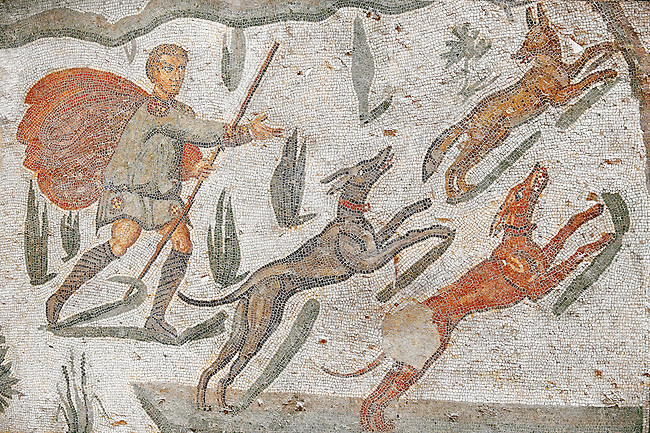 Hunter awith dogs chasing a fox from the Room of The Small Hunt, no 25 - Roman mosaics at the Villa Romana del Casale which containis the richest, largest and most complex collection of Roman mosaics in the world, circa the first quarter of the 4th century AD. Sicily, Italy. A UNESCO World Heritage Site.