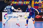Barcelona Lassa Roger Serrano and R. Renov. Zaragoza Fernando Modrego during Futsal Spanish Cup 2018 at Wizink Center in Madrid , Spain. March 16, 2018. (ALTERPHOTOS/Borja B.Hojas)