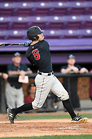 Secone baseman Matt Rothenberg (8) of the Harvard Crimson bats in game two of a doubleheader against the Furman Paladins on Friday, March 16, 2018, at Latham Baseball Stadium on the Furman University campus in Greenville, South Carolina. Furman won, 7-6. (Tom Priddy/Four Seam Images)