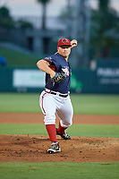 Florida Fire Frogs pitcher Drew Harrington (57) during the Florida State League All-Star Game on June 17, 2017 at Joker Marchant Stadium in Lakeland, Florida.  FSL North All-Stars defeated the FSL South All-Stars  5-2.  (Mike Janes/Four Seam Images)