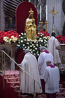 The statue of the Black Madonna di Viggiano - Basilicata. Italy.Pope Francis celebrates the Vespers and Te Deum prayers in Saint Peter's Basilica at the Vatican on December 31, 2018