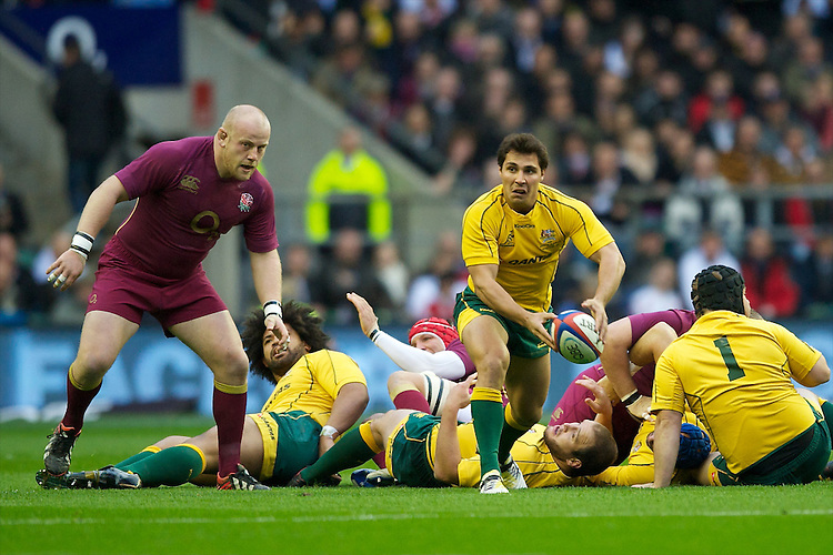 Nick Phipps of Australia passes during the Cook Cup between England and Australia, part of the QBE International series, at Twickenham on Saturday 17th November 2012 (Photo by Rob Munro)