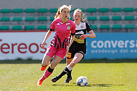 Ludmila Matavkova (9) of Charleroi and Loes Van Mullem (33) of Eendracht Aalst   pictured during a female soccer game between Eendracht Aalst and Sporting Charleroi on the third matchday of play off 2 of the 2020 - 2021 season of Belgian Scooore Womens Super League , Saturday 24 th of April 2021  in Aalst , Belgium . PHOTO SPORTPIX.BE | SPP | KRISTOF DE MOOR