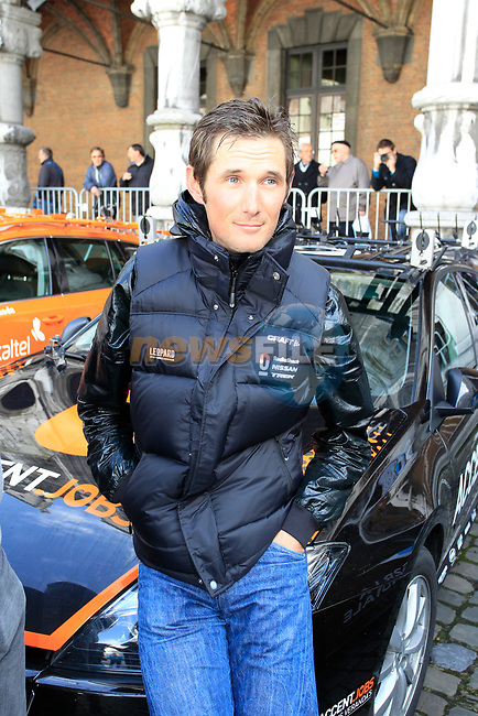 Frank Schleck (LUX) Radioshack-Nissan at the team presentations at the Palais Provincial in Liege city centre before the 98th edition of Liege-Bastogne-Liege 2012. 21st April 2012.  <br /> (Photo by Eoin Clarke/NEWSFILE).