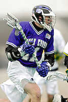 10 April 2007: Holy Cross Crusaders' Tanner Fogarty, a Senior from McMurray, PA, in action against the University of Vermont Catamounts at Moulton Winder Field, in Burlington, Vermont. The Crusaders rallied to defeat the Catamounts 5-4...Mandatory Photo Credit: Ed Wolfstein Photo