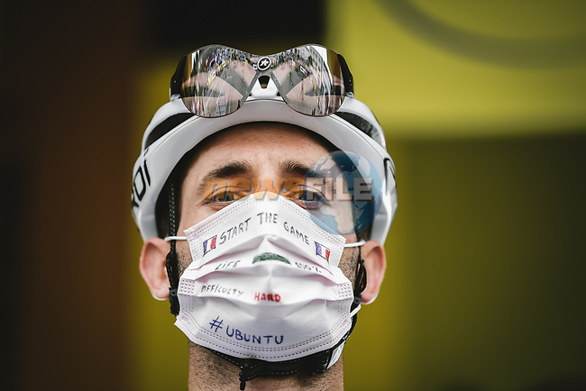Carlos Barbero (ESP) Team Qhubeka Nexthash at sign on before the start of Stage 1 of the 2021 Tour de France, running 197.8km from Brest to Landerneau, France. 26th June 2021.  <br /> Picture: A.S.O./Pauline Ballet | Cyclefile<br /> <br /> All photos usage must carry mandatory copyright credit (© Cyclefile | A.S.O./Pauline Ballet)