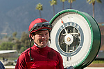 ARCADIA, CA  MARCH 24:Smiling Tyler Baze,  after winning the San  Luis Rey Stakes (Grade ll),  on March 24, 2018 at Santa Anita Park, in Arcadia, CA (Photo by Casey Phillips/ Eclipse Sportswire/ Getty Images)