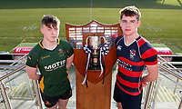 Monday 27th January 2020 | Ulster Schools' Cup Draw<br /> <br /> Down High School captain Josh Hanlon and Ballymena Academy captain Matthew Corr at the draw for the Ulster Schools' Cup Quarter Finals held at Kingspan Stadium, Ravenhill Park, Belfast, Northern Ireland. Fixtures to be played on or before 8 Feb 2020.  Photo credit - John Dickson DICKSONDIGITAL