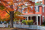 Fall foliage in the village center of Amherst, NH, USA